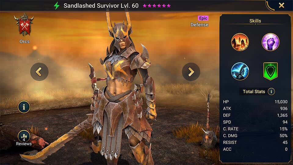 Sandlashed survivor
