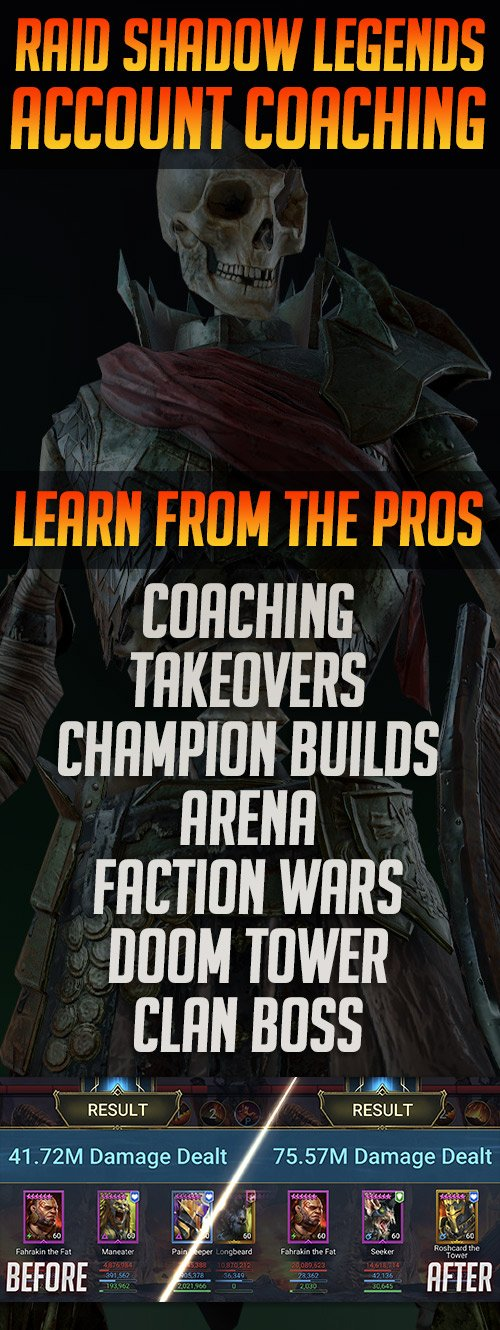 Raid Shadow Legends Account Takeovers and Coaching